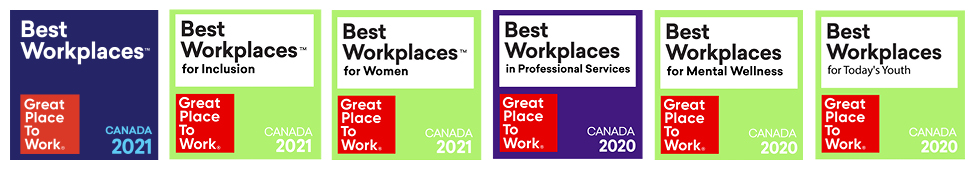 Great Place to Work Awards for 2021 Mental Wellness 2020 Inclusion 2020 Women 2020 Professional Services 2020 and Today's Youth 2020