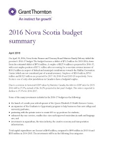 2016 nova scotia budget cover