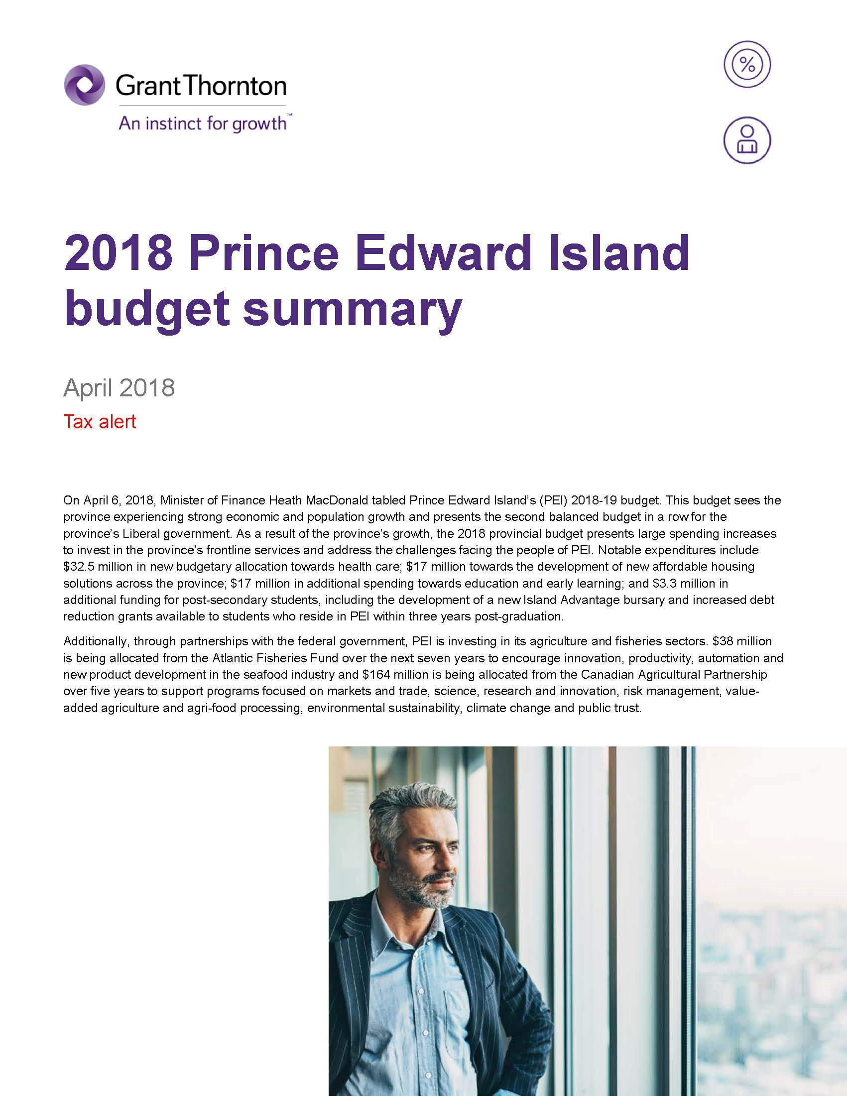 2018-19 PEI budget summary cover