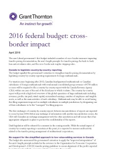 2016 budget cross border impact: cover